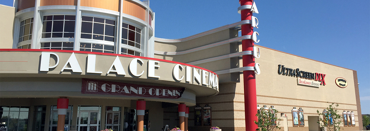 Entire front of building and front entrance of the Palace Cinema theater in Sun Prairie, WI, by Tri-North Builders.