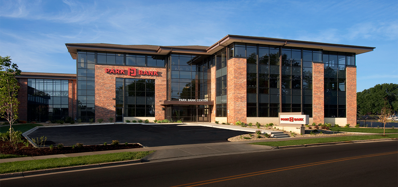 Entire front of building showcasing the Tri-North Builders project for the Park Bank Corporate HQ in Madison, WI.