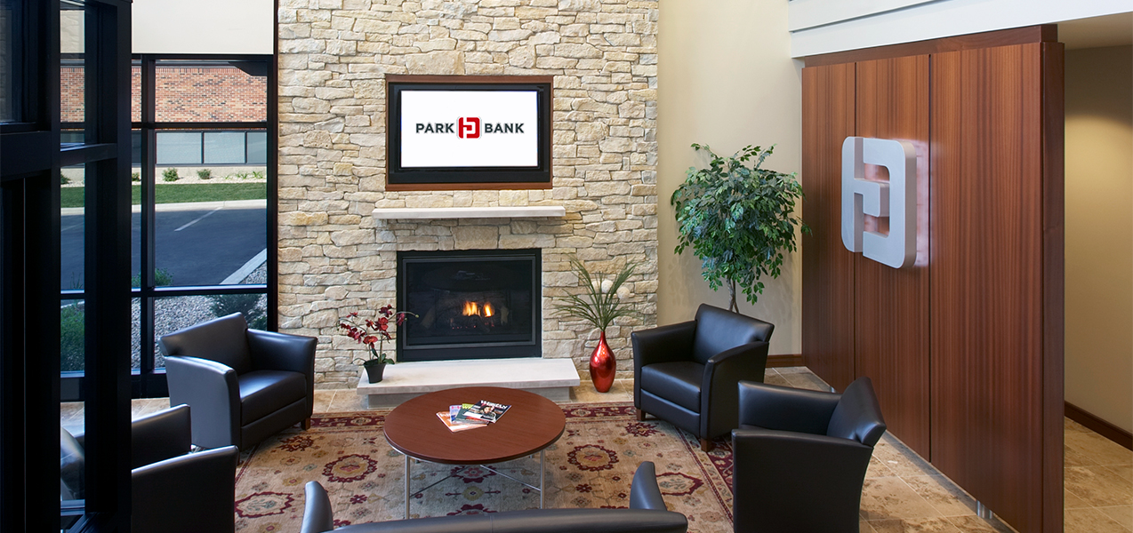 Fireplace and waiting area in the main lobby of the Park Bank Corporate Headquarters in Madison, WI.