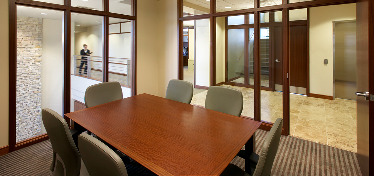 Tri-North Builders remodeled conference room and windows inside the Park Bank Corporate HQ in Wisconsin.