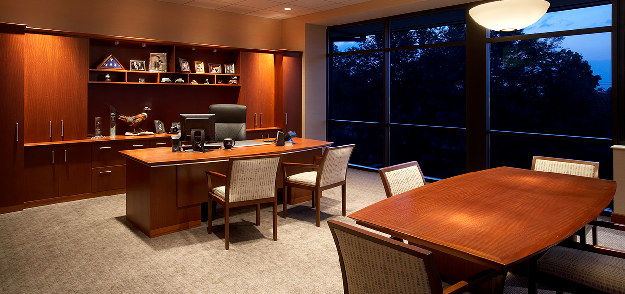 Large office and conference area inside the Park Bank Corproate Headquarters in Madison, WI.