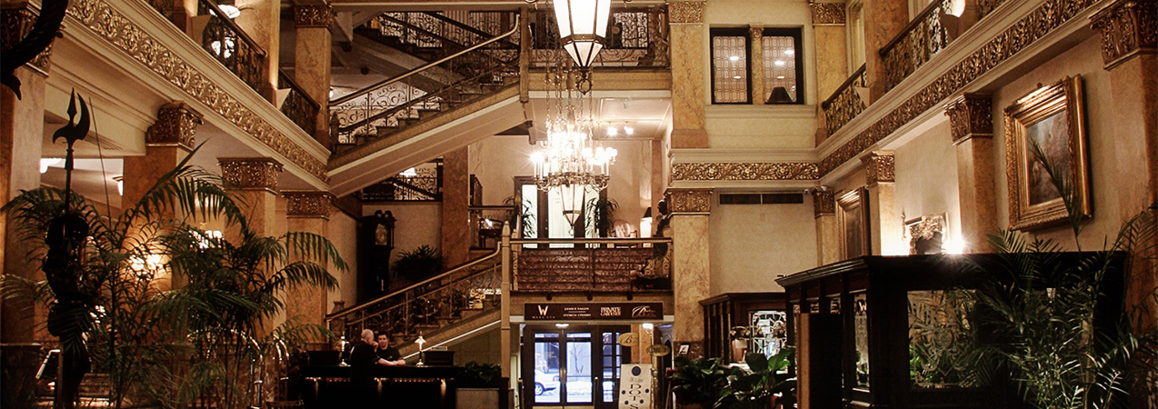 The ornate front entrance and lobby at the downtown Milwaukee Pfister hotel Tri-North Builders construction project.