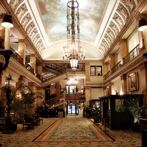 Newly remodeled lobby interior at the Pfister Hotel in downtown Milwaukee, a Tri-North Builders project.