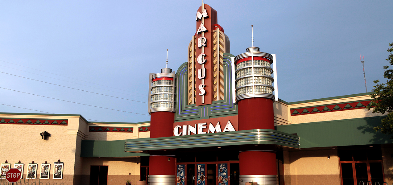Front of the Marcus Point Cinema building in Madison, WI.