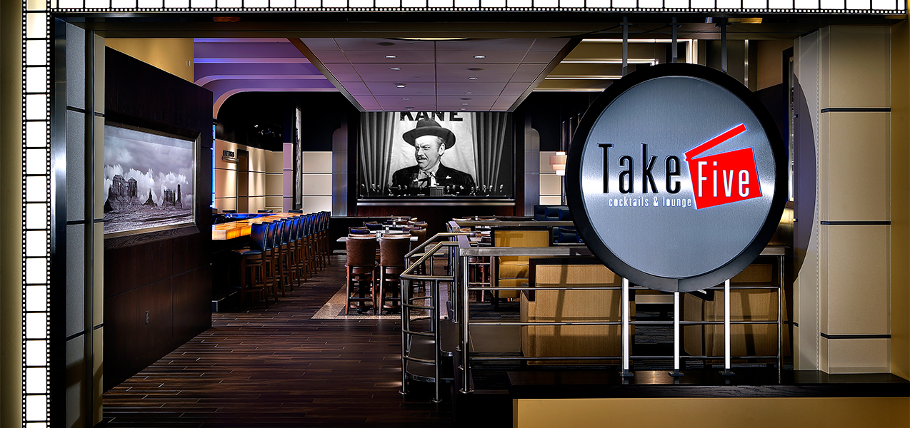 Take 5 lounge after Tri-North Builders remodeled inside Marcus Point Cinema theater in Madison, WI.
