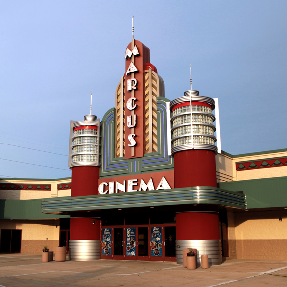 Front entrance of the Marcus Point Cinema in Madison, WI, a Tri-North Builders construction project.