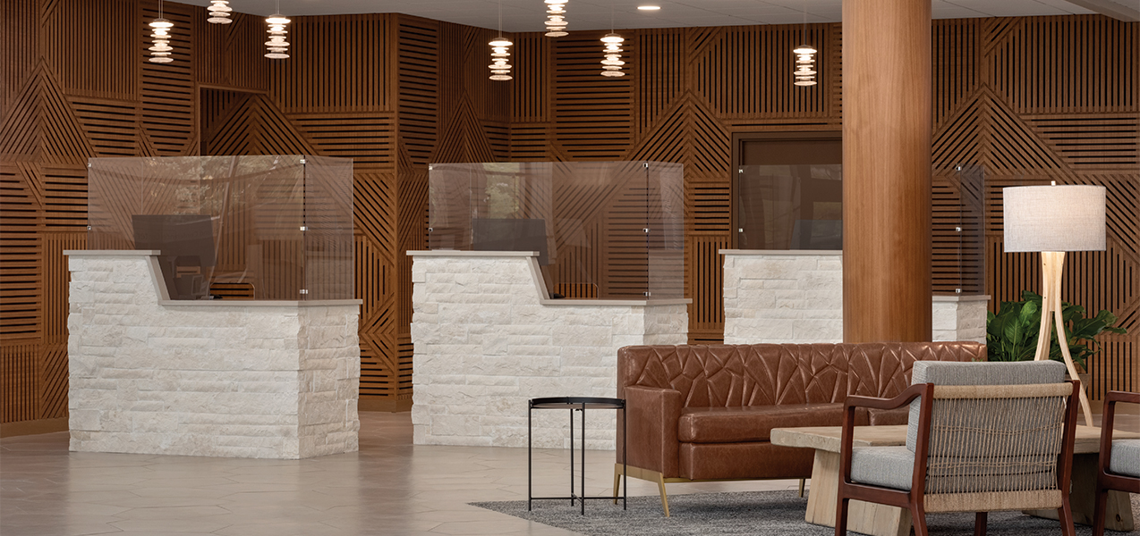 Front desk area in the Tri-North Builders remodeled Radisson Hotel & Conference Center Green Bay.