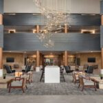 Tri-North remodel project showing the new lobby inside the Radisson Hotel & Conference Center Green Bay, WI.