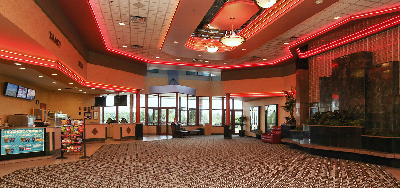 Lobby area of the Rosemont movie theater as remodeled by the Tri-North Builders construction company.