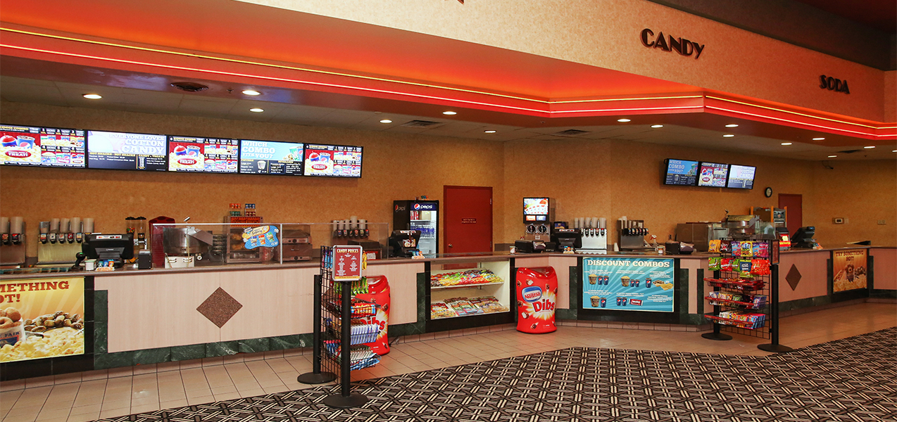 Concession stand inside the Rosemont movie theater in the lobby of the theater complex.