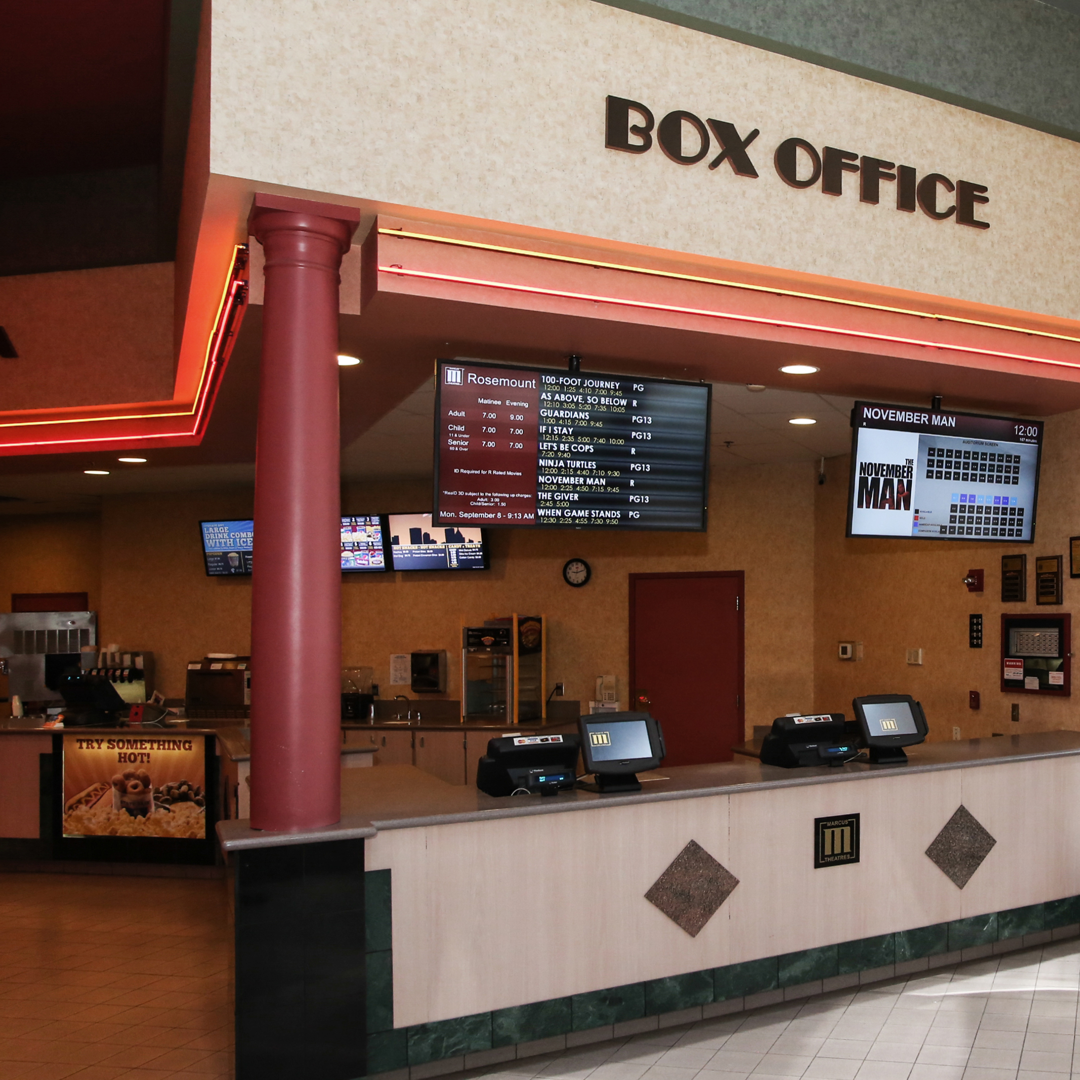 Tri-North Builders construction project showing the box office at the Rosemont, IL, Movie Theater.