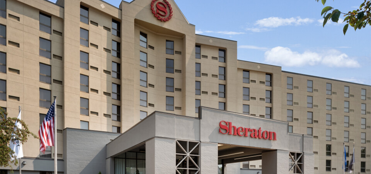 Front of building at the Sheraton Madison Hotel as remodeled by Tri-North Builders construction.