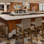 Remodeled bar and bar stools by Tri-North Builders at the Madison, WI, Sheraton Madison Hotel.