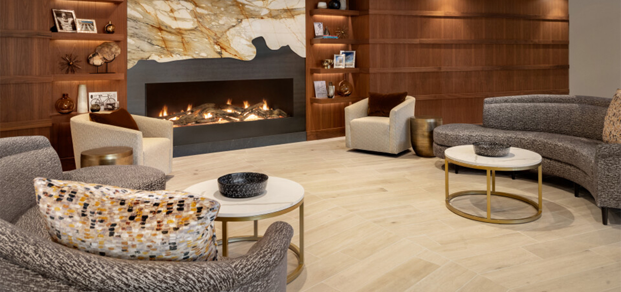 Sitting area and lounge near fireplace inside the Sheraton Madison Hotel in Wisconsin.