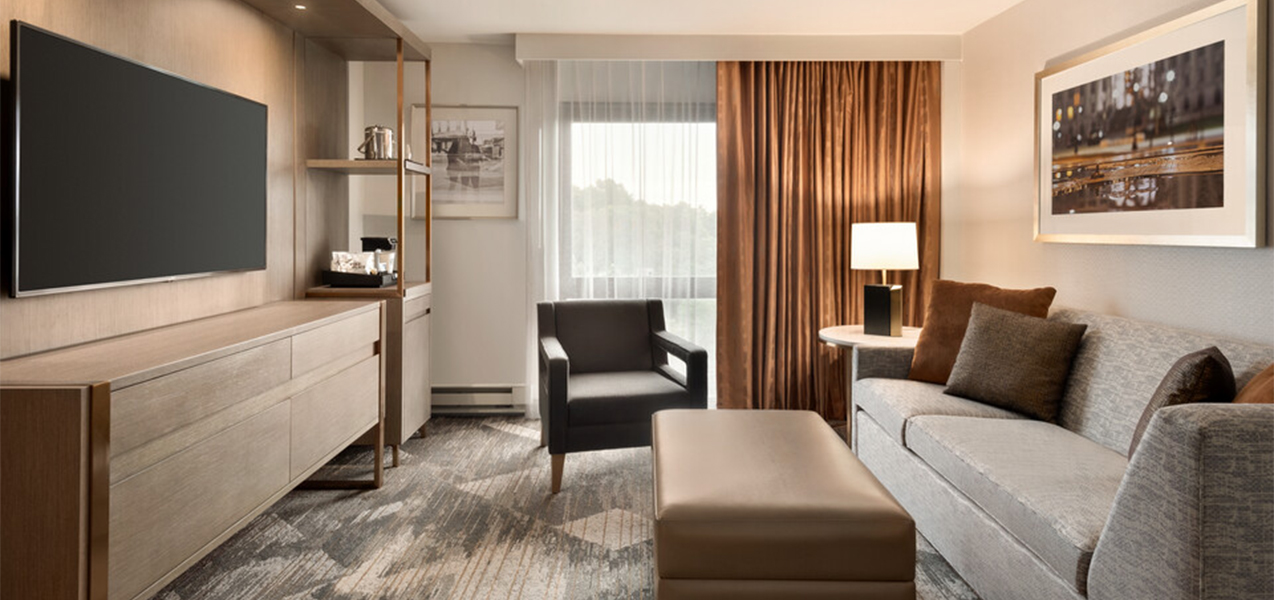 Remodeled room inside a suite at the Sheraton Madison Hotel in Madison, WI, as remodeled by Tri-North Builders.