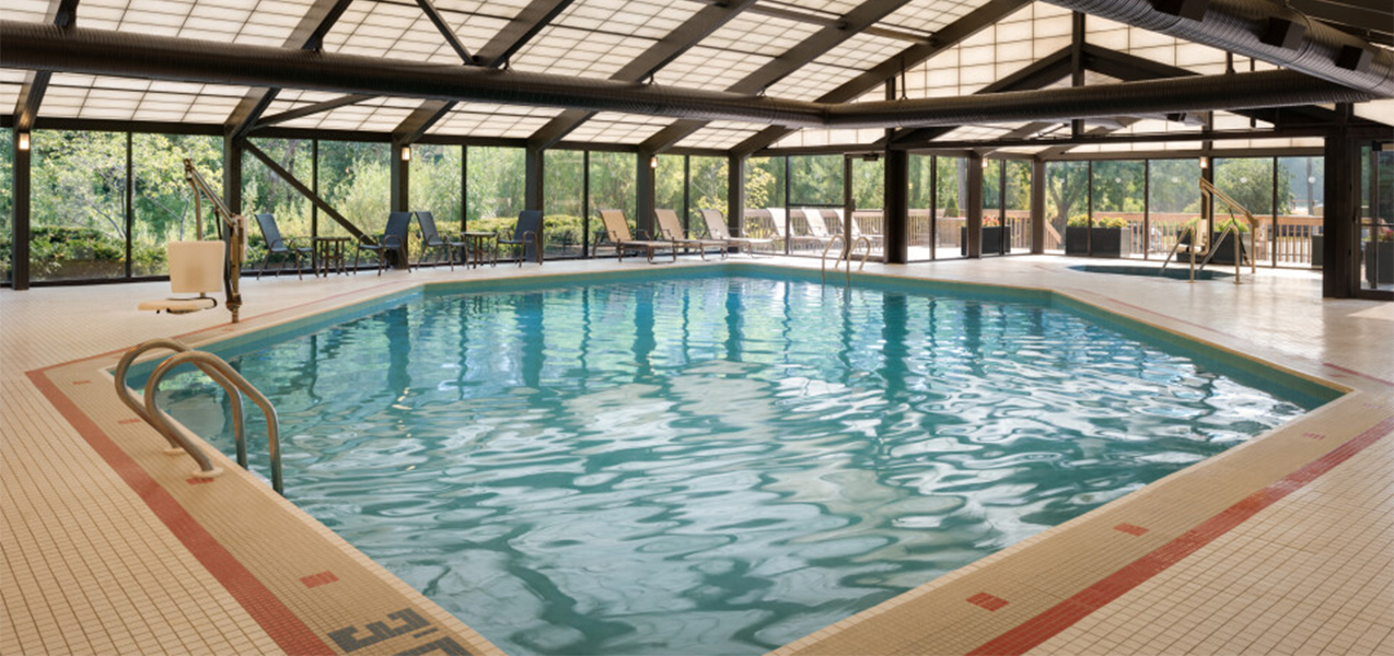 Remodeled indoor pool and pool deck area at the Sheraton Madison Hotel a Tri-North Builders project.