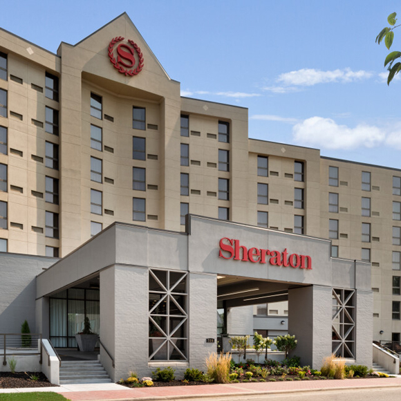 Front entrance and building for the Tri-North Builders remodeled Sheraton Madison hotel in Madison, WI.