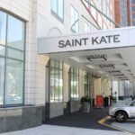Front entrance at the Tri-North Builders remodeled Saint Kate hotel in downtown Milwaukee, WI.