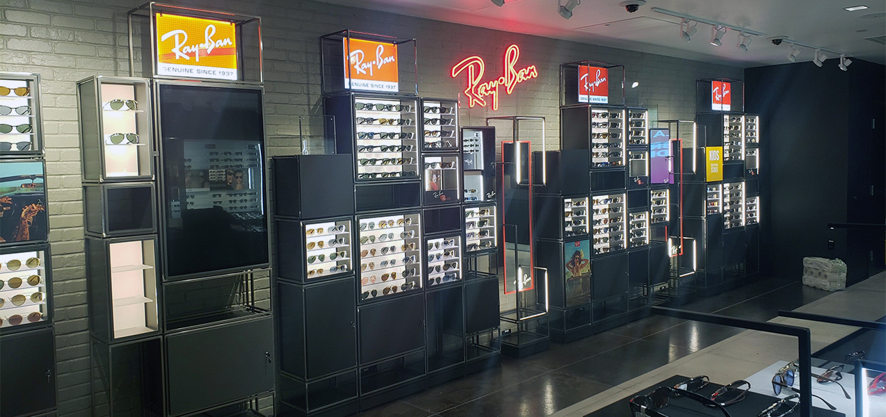 Ray Ban sunglasses are on display at Sunglass Hut, a Tri-North project.