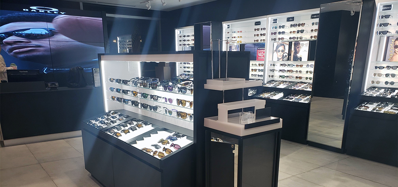 Custom displays feature product at Sunglass Hut, a Tri-North project.