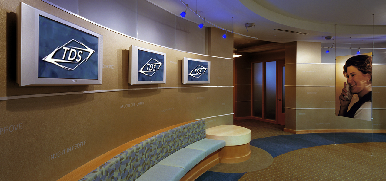 Office lobby area inside the TDS office building which is a Tri-North Builder project in Wisconsin.