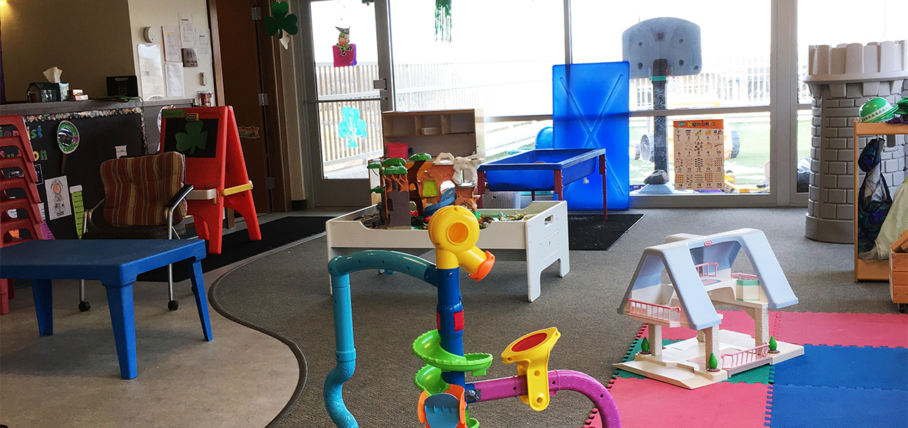 Child care area with toys inside the Tri-North Builders headquarters in Fitchburg, WI.