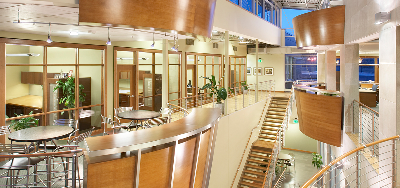 Interior of the Tri-North Builders HQ featuring stairs, conference room and other areas located in Fitchburg, WI.