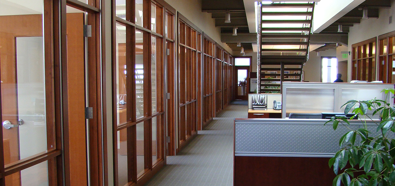 Offices and cubicles inside Tri-North Builder's HQ which is located in Fitchburg, WI.