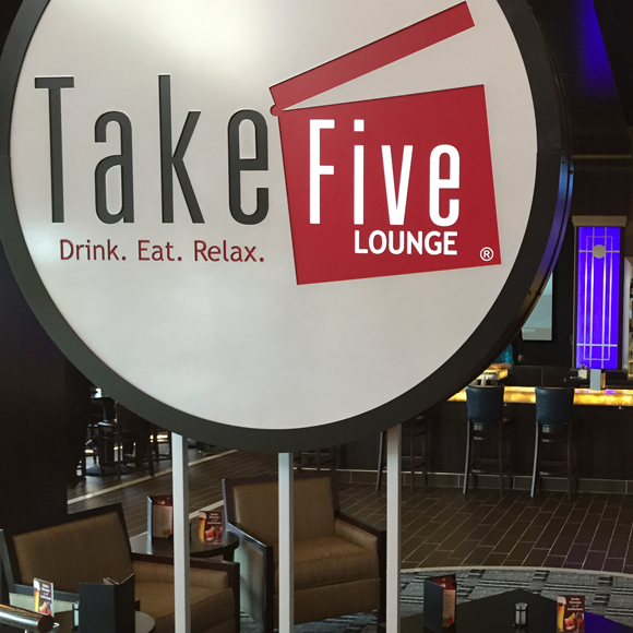 Sign for the Tri-North Builders project at Take Five Lounge in Madison, WI.