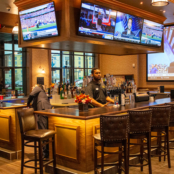 The bar and lounge area inside the Movie Tavern in Brookfield, WI, a Tri-North Builders project.