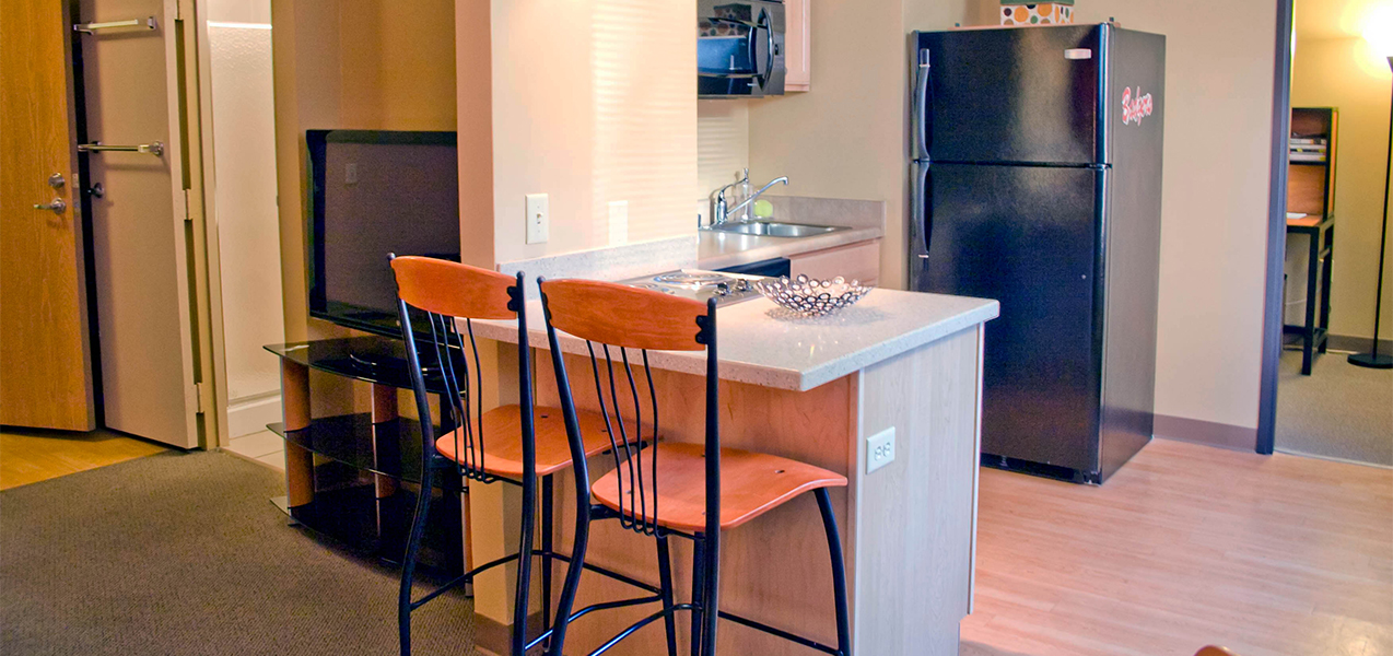 Remodeled kitchen inside the Tri-North Builders project at The Towers apartment complex in Madison, Wi.