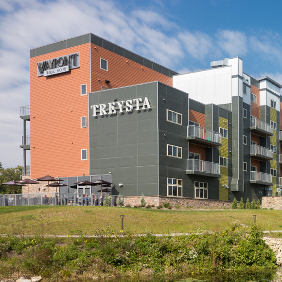 Remodeled Treysta apartments in Wisconsin showing balconies and exterior by Tri-North Builders.