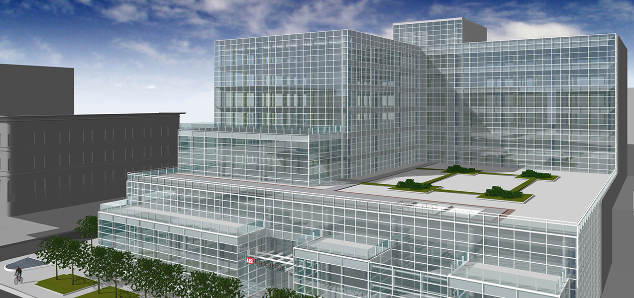 Concept image of the US Bank headquarters produced by Tri-North Builders showing entire building.