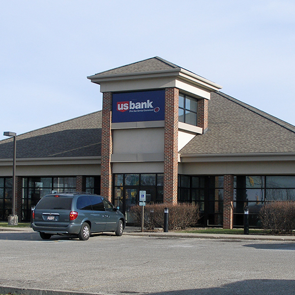 Front of Tri-North Builders project for US Bank with front door visible located in Wisconsin.