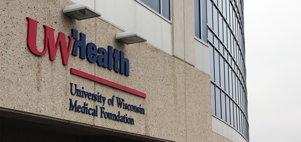 Sign for UW Health in Wisconsin outside of building by Tri-North Builders.