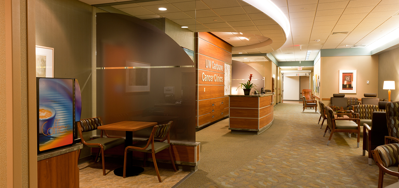 Patient registration and reception area inside the UW Cancer Center remodeled by Tri-North Builders.