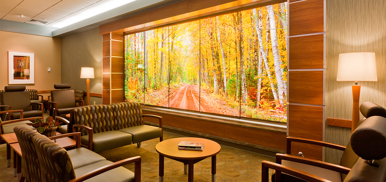 Waiting area with chairs and outdoor image inside the UW Carbone Cancer Center clinic built by Tri-North Builders.