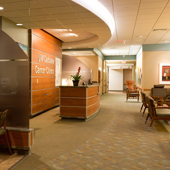 Front reception area for the Tri-North Builders remodel project at the UW Carbone Cancer Center in Wisconsin.