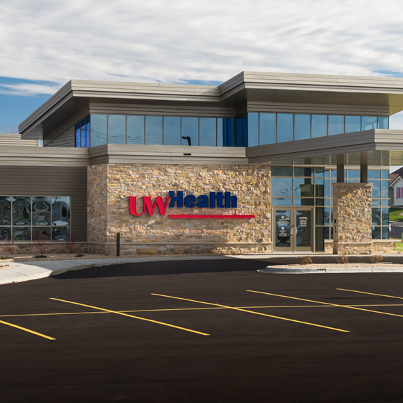 Front entrance of the UW Health Cottage Grove clinic, a Tri-North Builders project.