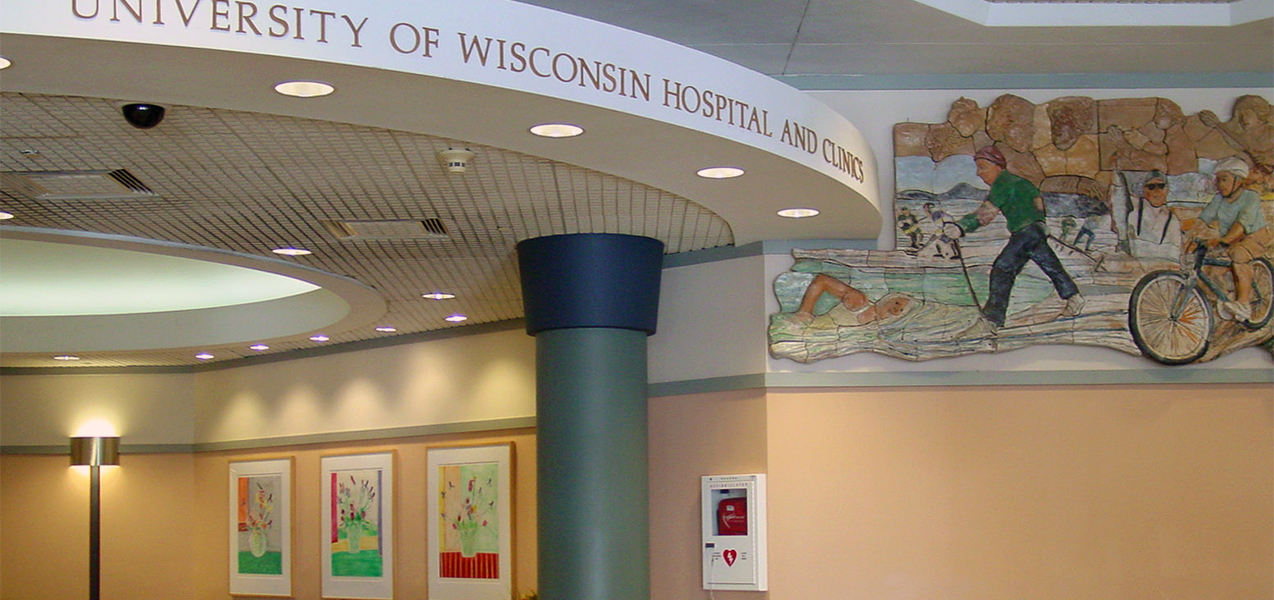 Reception area and mural on wall for Tri-North Builders project at UW Hospitals in Wisconsin.
