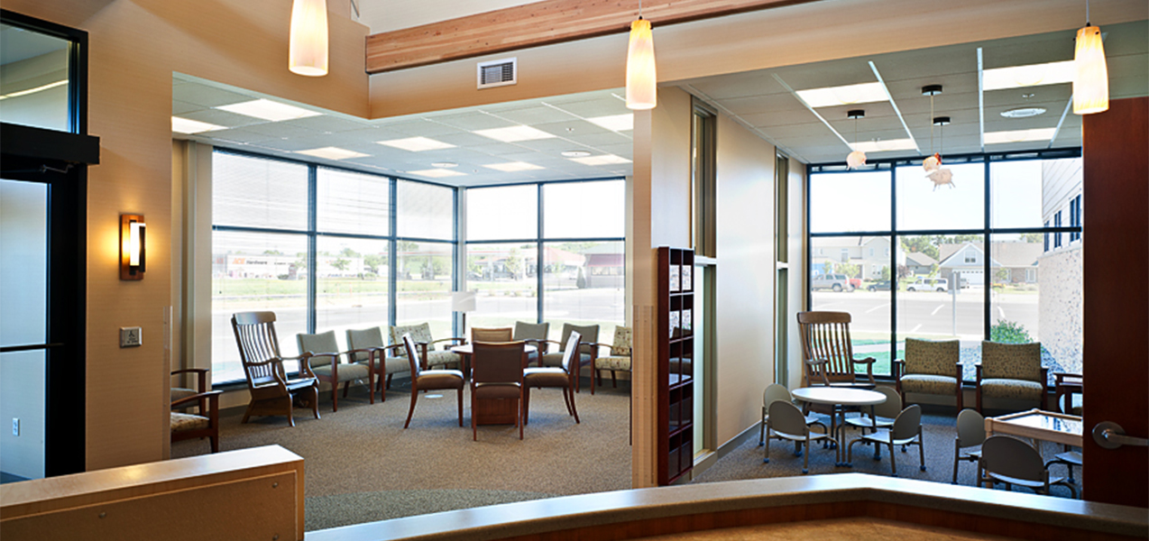 Waiting area and front windows inside the Tri-North Builders project for the UW Health Stoughton Clinic in Stoughton, WI.