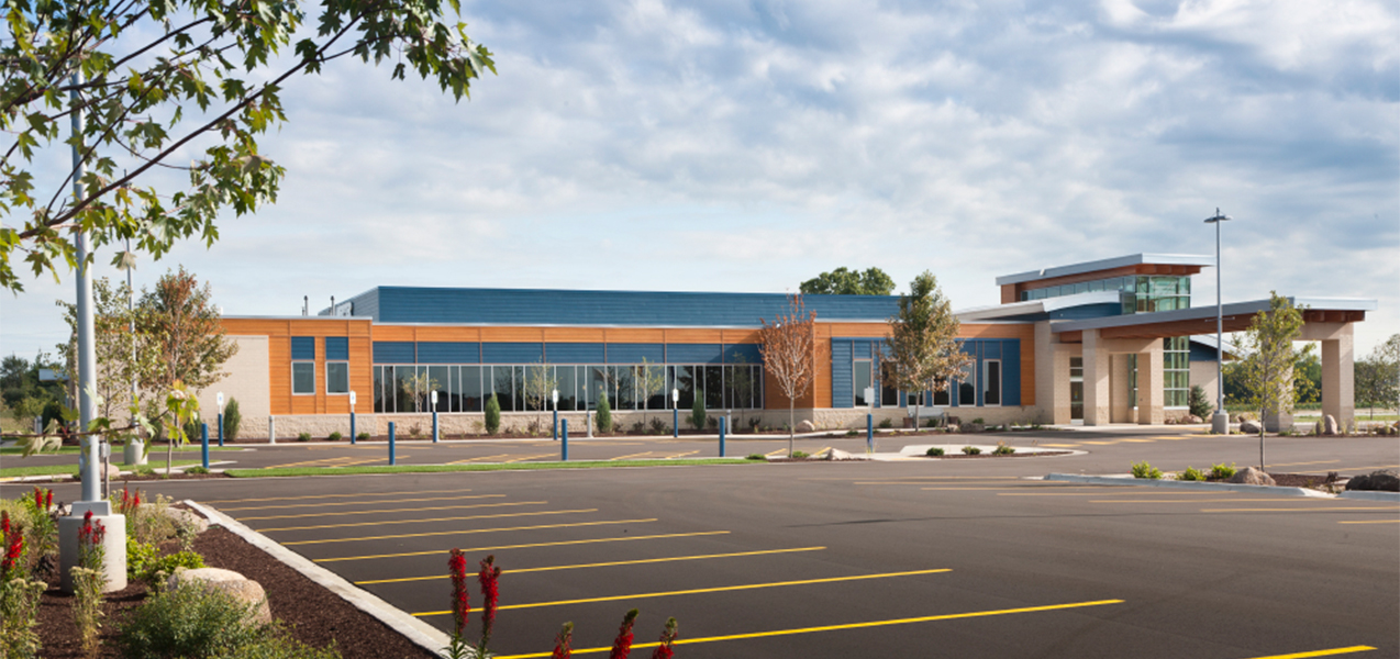 The Tri-North Builders project showing the entire front of the Unity Point Meriter Deforest DeForest Clinic in Wisconsin.