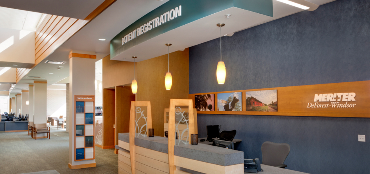 Patient registration area in the Tri-North Builders remodeled Unity Point Meriter DeForest, WI, clinic.