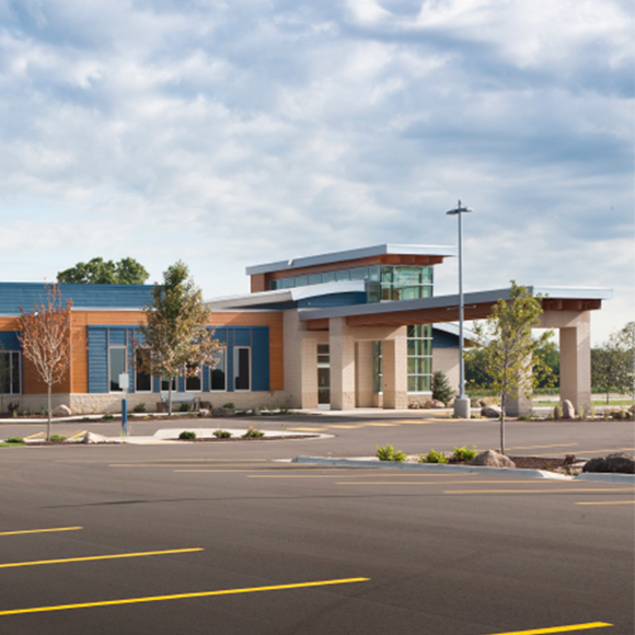 Front entrance and parking lot for the Unity Point Meriter Deforest medical building in DeForest, WI.