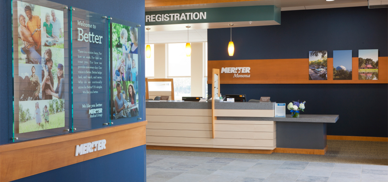 Patient registration desk in the Tri-North Builders remodeled Unity Point Meriter Monona, WI, medical clinic.