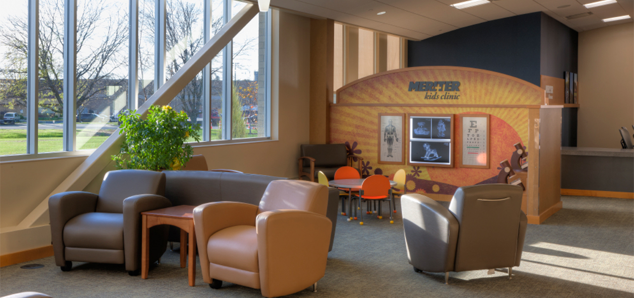 Kids clinic and waiting room area at the Unity Point Meriter Monona medical clinic in Wisconsin.