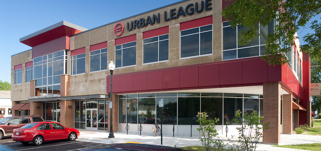 Madison, WI, Urban League building front door, windows and parking lot.