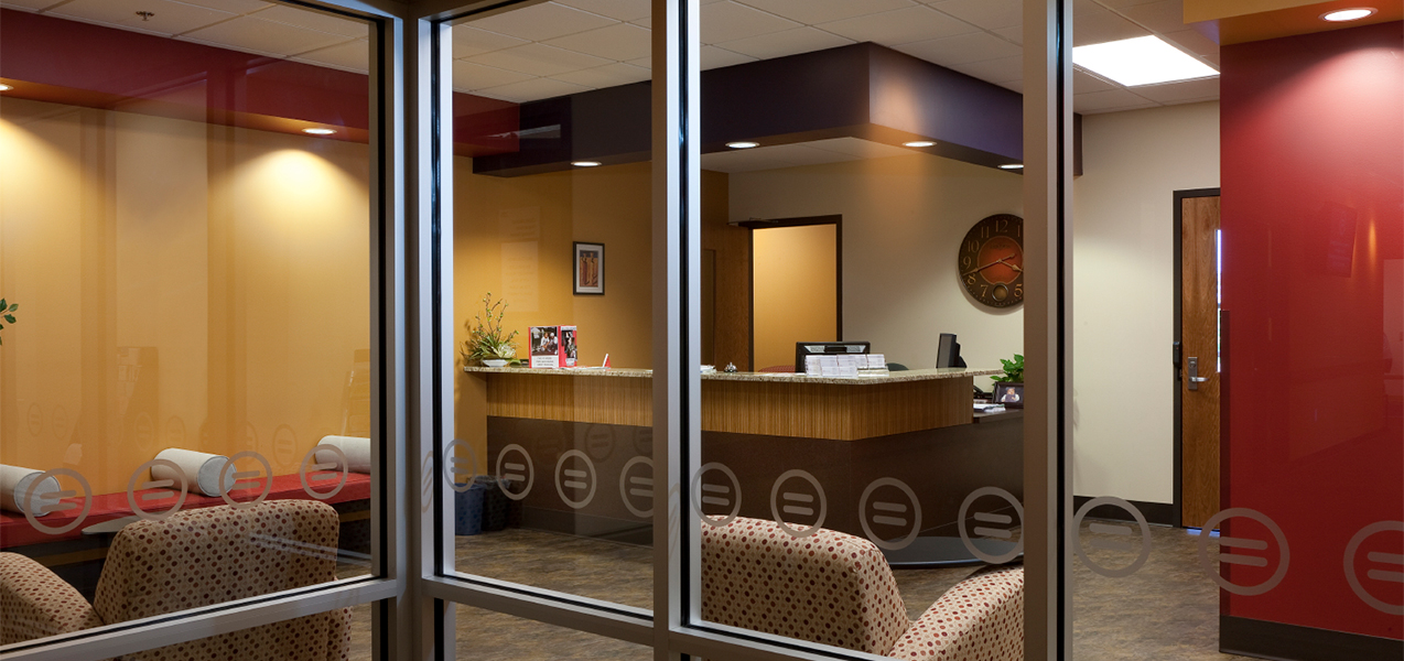Urban League building foyer, interior entrance and receptionist desk.