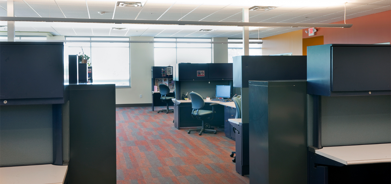 Cubicles and desks in the Tri-North Builders Madison Urban League building remodel.