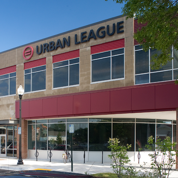 Madison, WI, Urban League front door, a Tri-North Construction project.